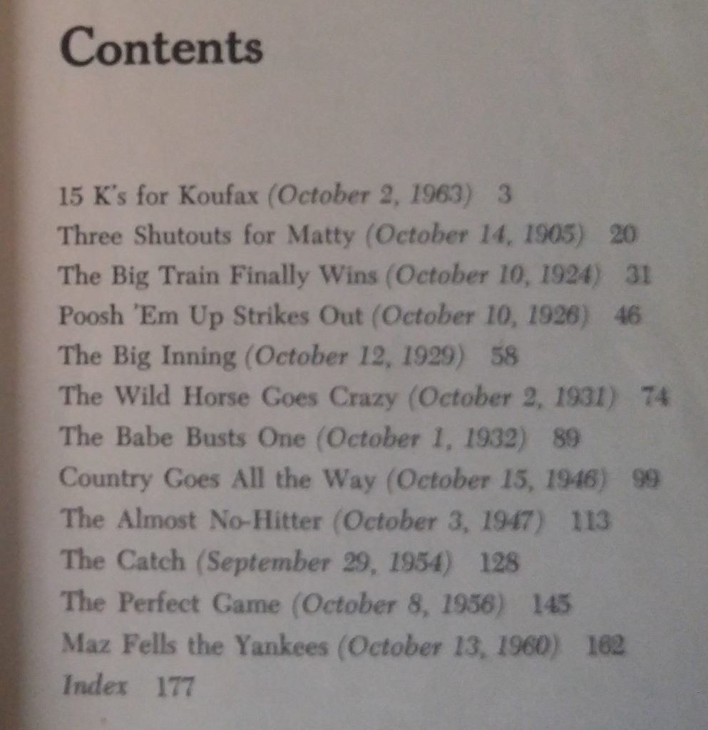 Greatest World Series Thrillers (contents)