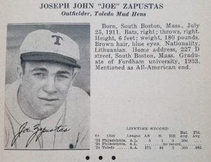 Joe Zapustas Toledo Mud Hens 1935 Scrapbook Card