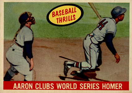 1959 Topps Aaron Clubs World Series Homer