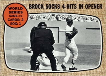 1968 Topps Brock Socks 4 Hits in Opener
