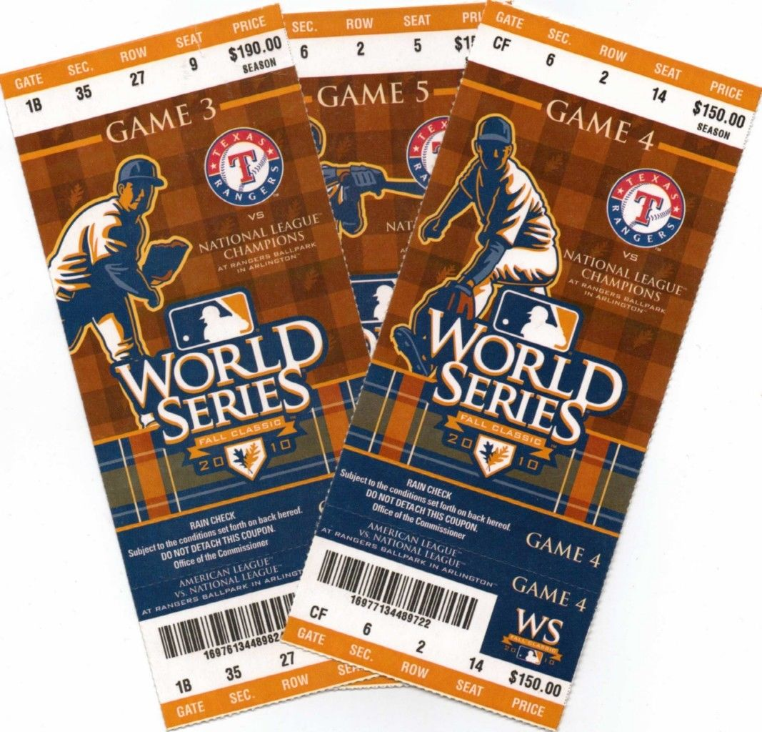 2010 Texas Rangers World Series Tickets