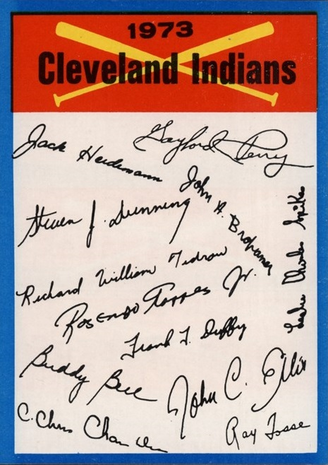 1973 Topps Cleveland Indians Checklist