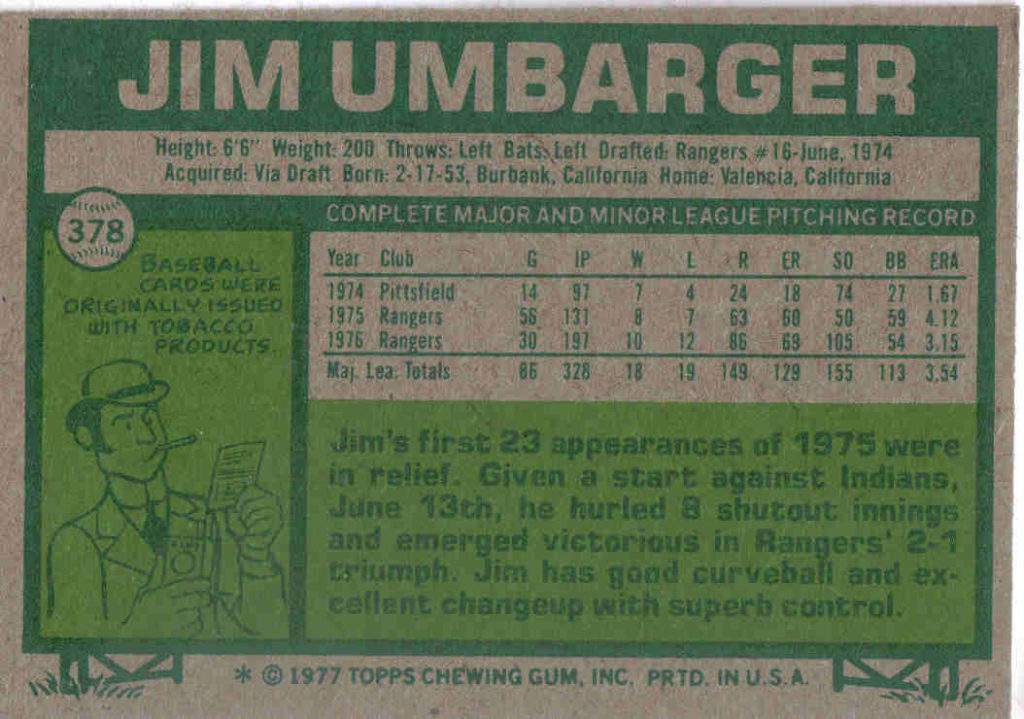 1977 Topps Jim Umbarger (back)