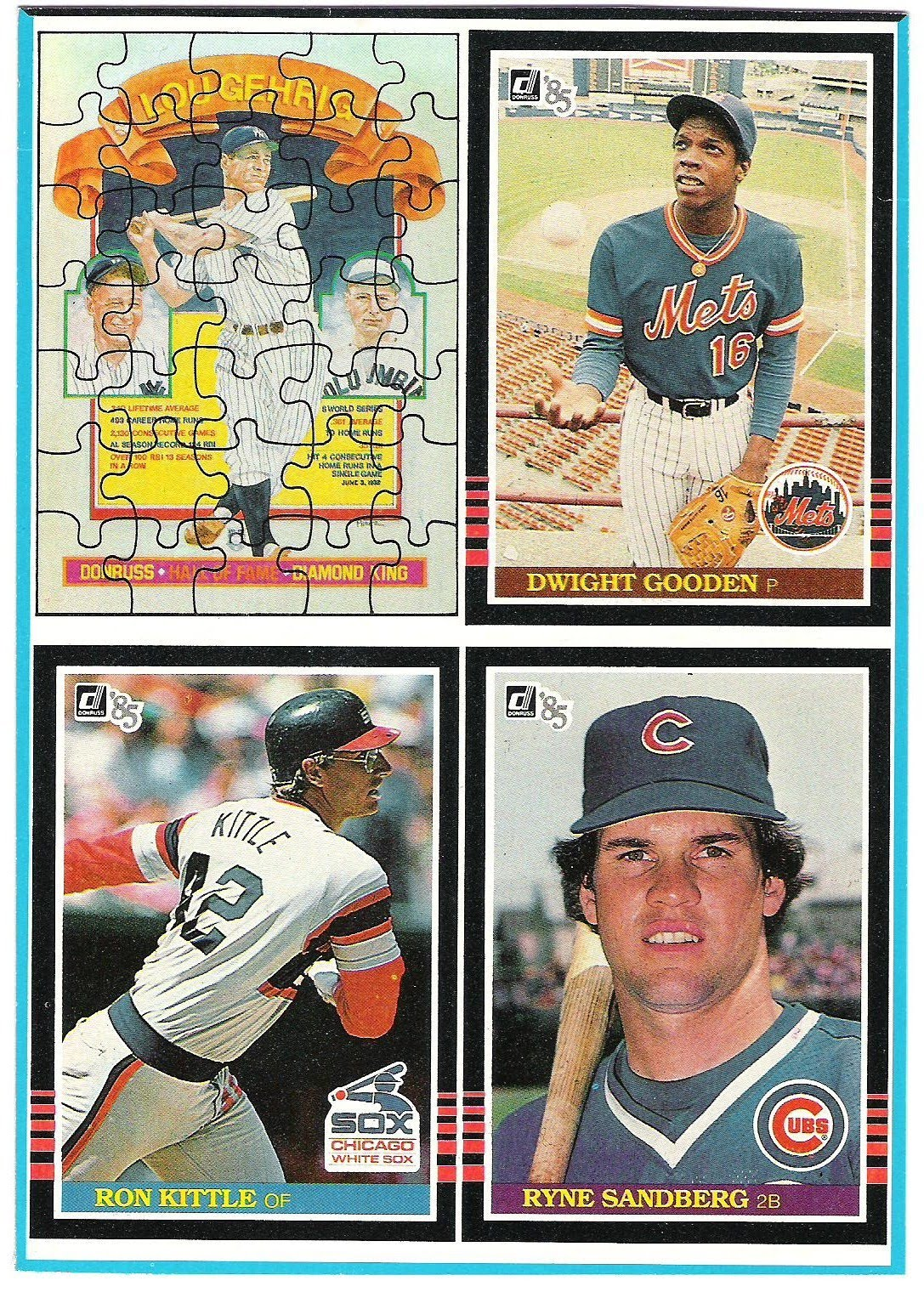 1985 Donruss Box Bottom Panel