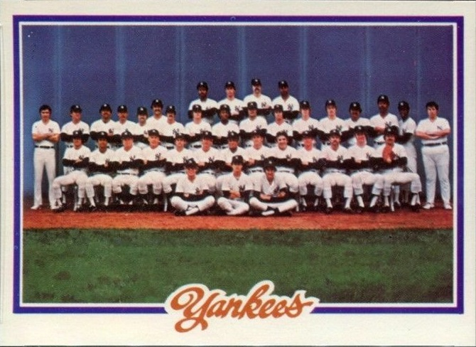 1978 Topps New York Yankees Team