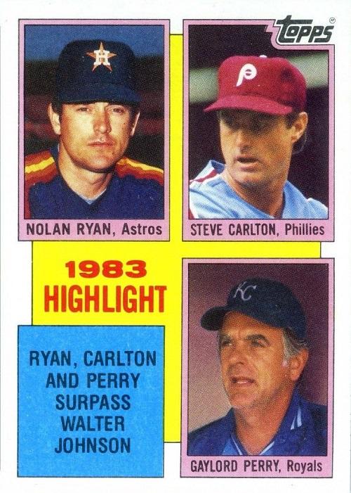 1984 Topps Nolan Ryan-Steve Carlton-Gaylord Perry