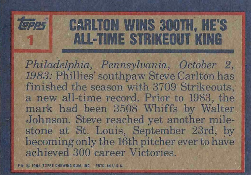 1984 Topps Steve Carlton Highlight (back)