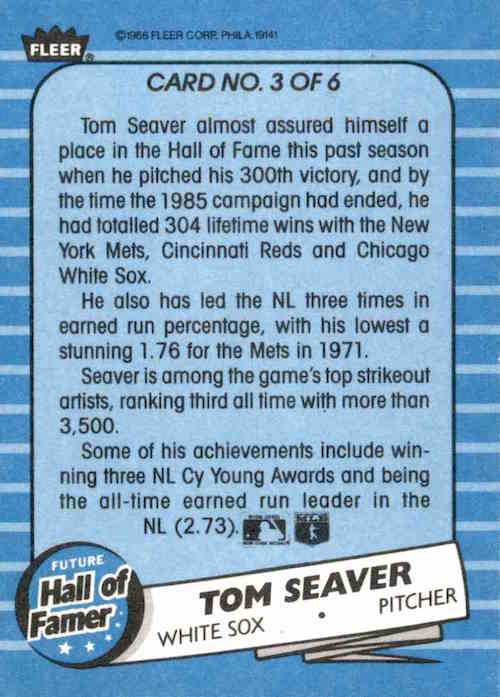 1986 Fleer Future Hall of Famer Tom Seaver (back)