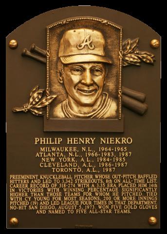 Phil Niekro Hall of Fame Plaque