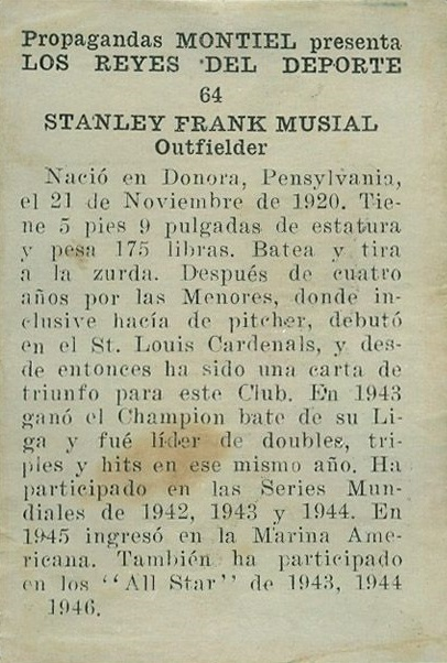 1946 Propagandas Montiel Stan Musial (back)