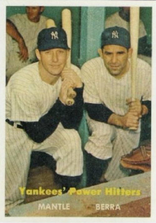 1957 Topps Yankees Power Hitters -- Yogi Berra-Mickey Mantle