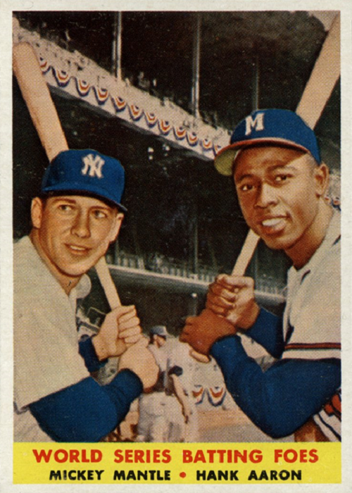 1958 Topps World Series Batting Foes -- Mickey Mantle-Hank Aaron