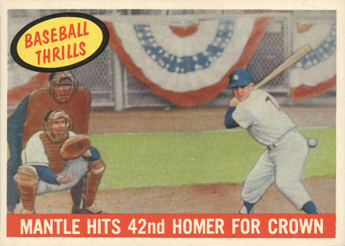 1959 Topps (Mickey) Mantle Hits 42nd Homer for Crown