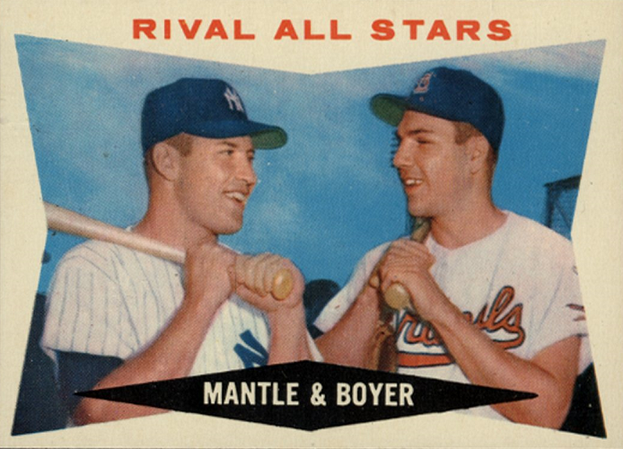 1960 Topps Rival All Stars -- Mickey Mantle-Ken Boyer