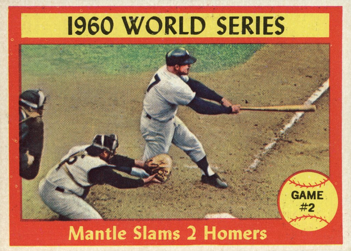 1961 Topps 1960 World Series -- (Mickey) Mantle Slams 2 Homers