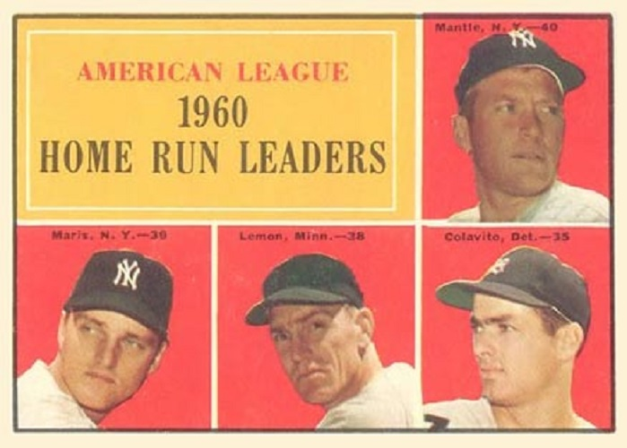 1961 Topps AL Home Run Leaders -- Mickey Mantle-Roger Maris-Rocky Colavito