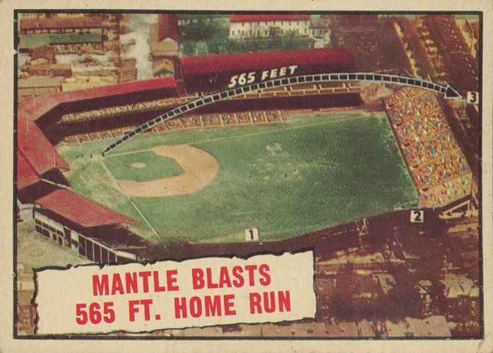 1961 Topps (Mickey) Mantle Blasts 565 Ft. Home Run