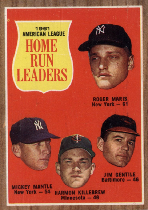 1962 Topps AL Home Run Leaders -- Jim Gentile-Harmon Killebrew-Mickey Mantle-Roger Maris
