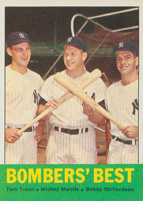 1963 Topps Bombers' Best -- Tom Tresh-Mickey Mantle-Bobby Richardson