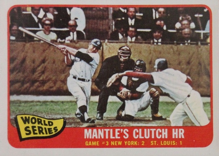 1965 Topps World Series Game #3 -- (Mickey) Mantle's Clutch HR
