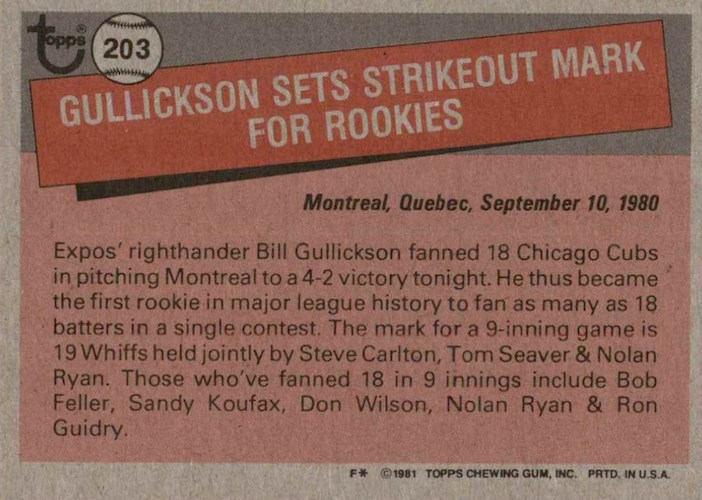 1981 Topps Bill Gullickson Record Breaker (back)