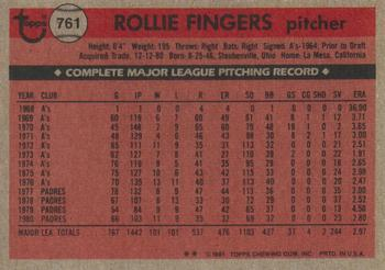 1981 Topps Traded Rollie Fingers (back)