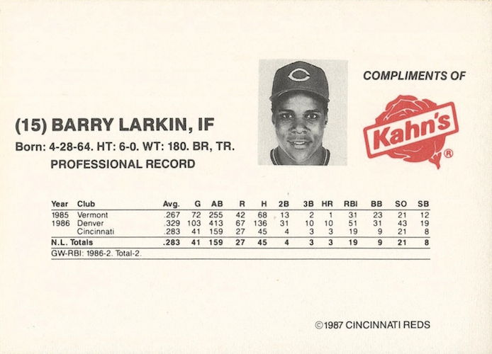 1987 Kahn's Weiners Cincinnati Reds Barry Larkin (back)