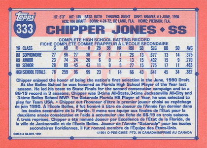 1991 o-pee-chee chipper jones (back)