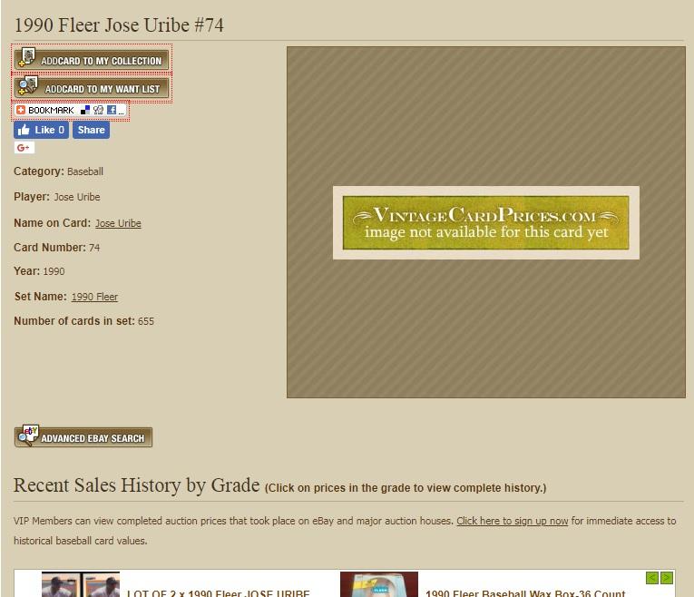 1990 Fleer Jose Uribe Vintage Card Prices