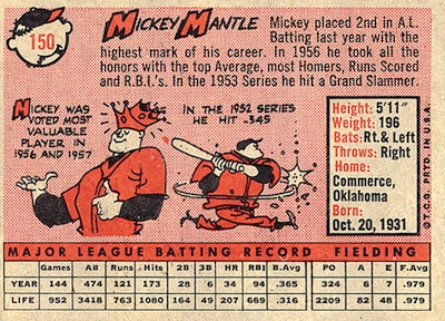 1958 Topps Mickey Mantle (back)