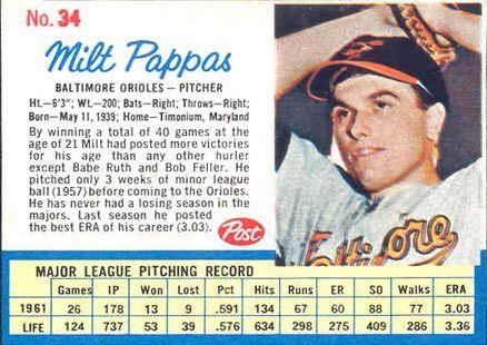 1962 Post Milt Pappas