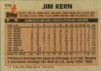 1983 Topps Jim Kern (back)