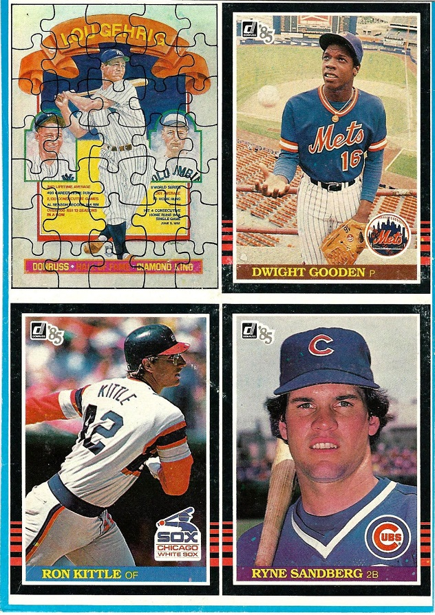 1985 Donruss Baseball Cards Box Bottom Panel