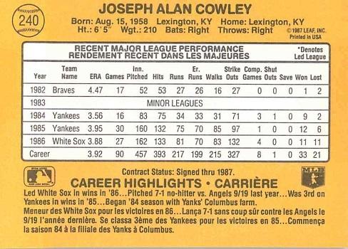 1987 Donruss Joe Cowley (back)