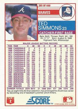 1988 Score Ted Simmons (back)
