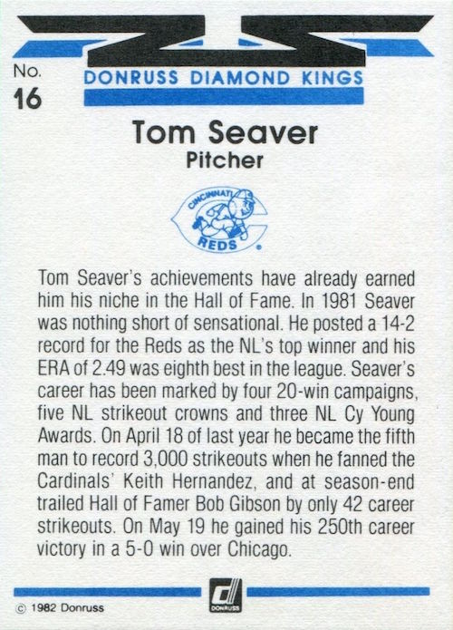 1982 Donruss Diamond Kings Tom Seaver (back)