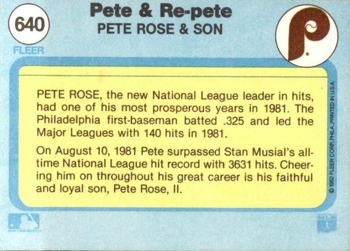 1982 Fleer Pete and Re-Pete Rose (back)