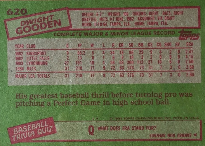 1985 Topps Dwight Gooden (back)