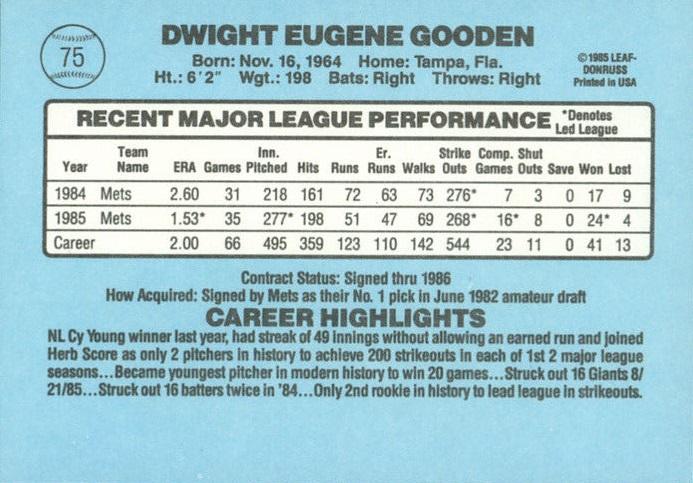1986 Donruss Dwight Gooden (back)
