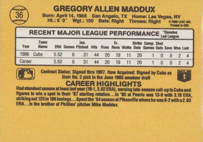 1987 Donruss Greg Maddux Rookie Card (back)