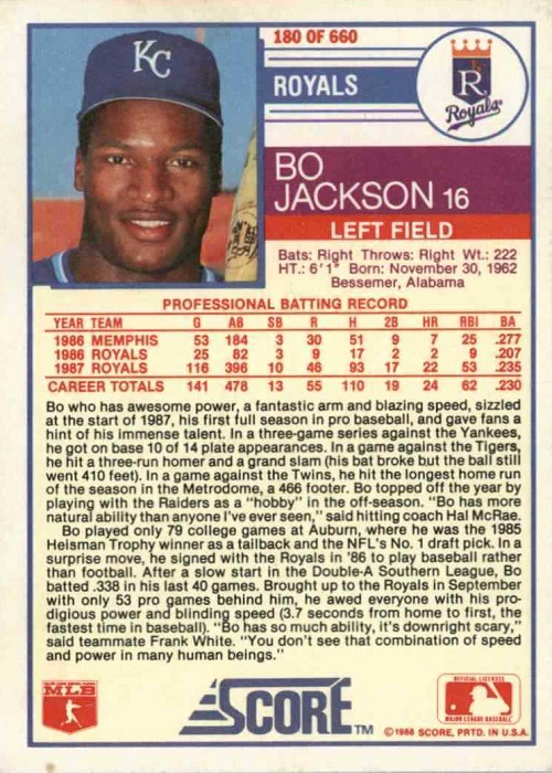 Bo Jackson Can Do Anything On His 1988 Score Baseball Card