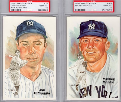 Joe DiMaggio Mickey Mantle Perez Steele Hall of Fame Postcards