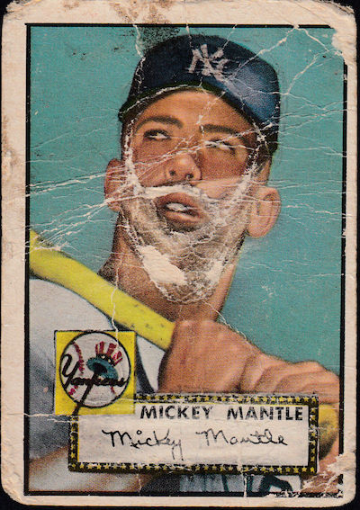 1952 Topps Mickey Mantle Rookie Card Poor