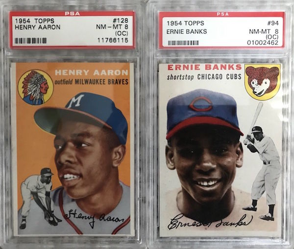 1954 Topps Hank Aaron Ernie Banks Rookie Cards