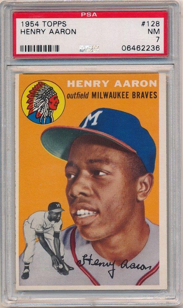 1954 topps Hank Aaron Rookie Card PSA 7