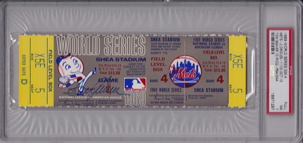1969 World Series Ticket Autographed by Tom Seaver