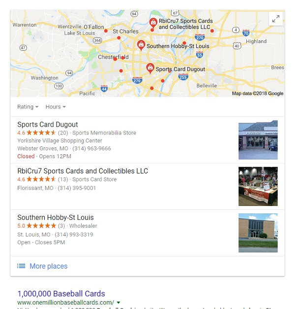 google baseball card shops near me