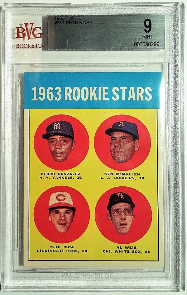 1963 Topps Pete Rose Rookie Card (#539) - BVG 9