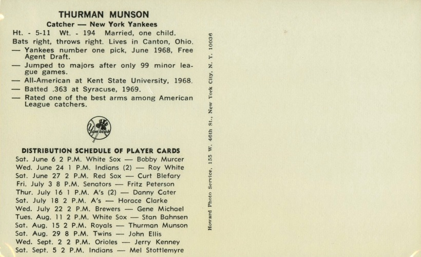 1970 New York Yankees Clinic Schedule Thurman Munson(back)