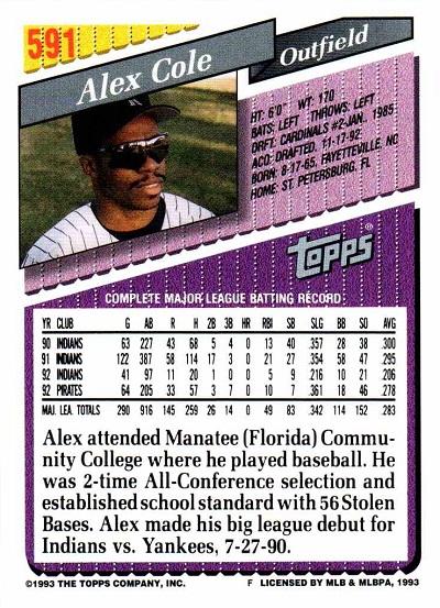 1993 Topps Alex Cole (back)